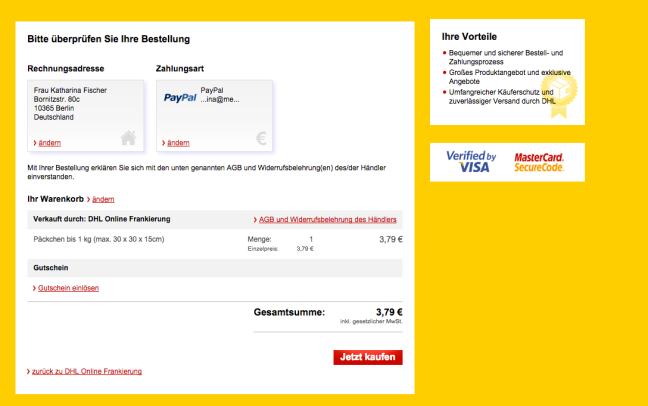 Postpay DHL Paket Frankierung Bestellung