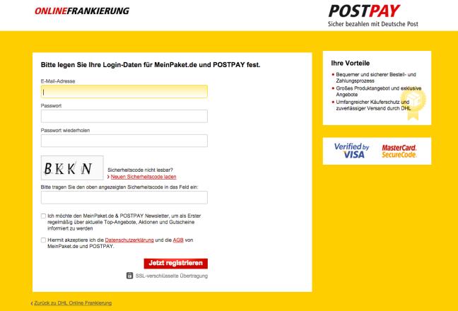 Postpay DHL Paket Frankierung Prozess