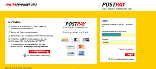 Postpay DHL Paket Frankierung Registrierung 1